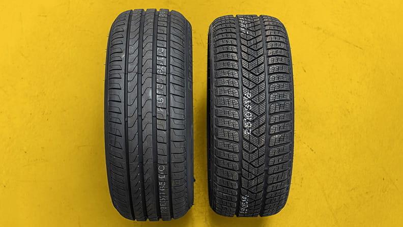 倍耐力夏季與冬季輪胎花紋比較