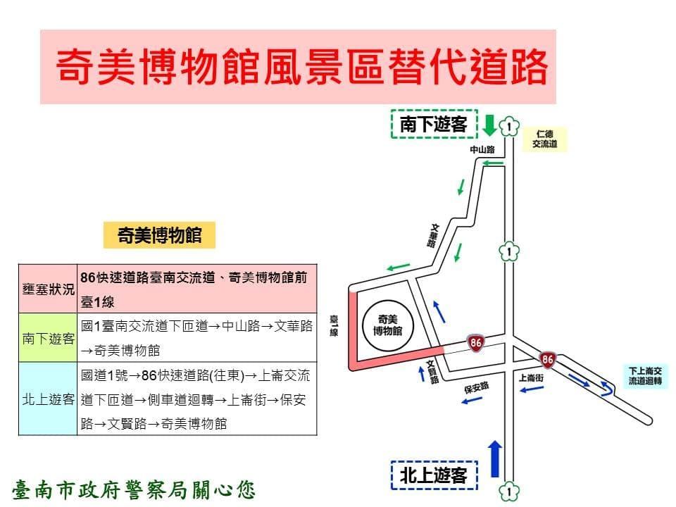 春節假期台南奇美博物館替代道路示意圖