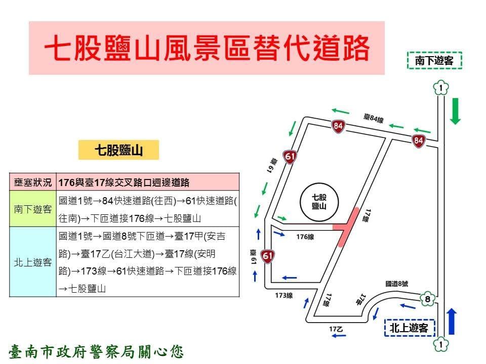 春節假期台南七股鹽山風景區替代道路示意圖