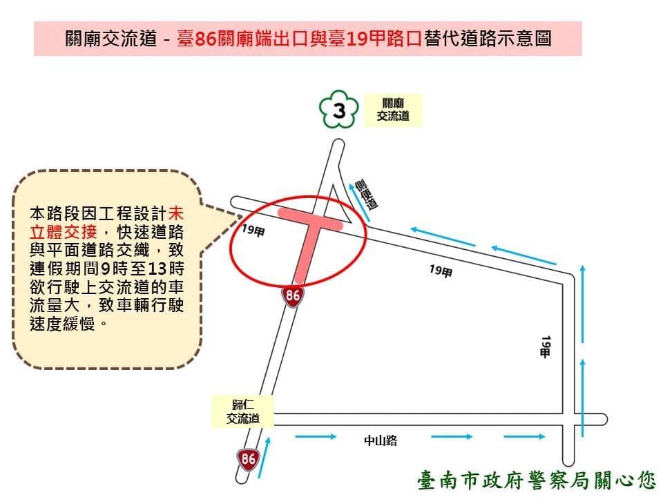春節假期台南關廟交流道替代道路示意圖