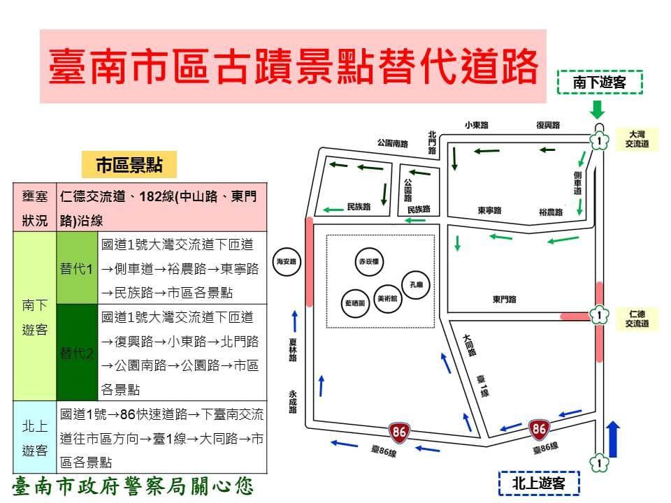 春節假期台南古蹟景點替代道路示意圖