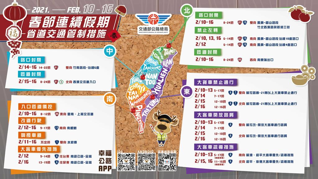 2021年2月10日-16日春節連續假期省道交通管制措施