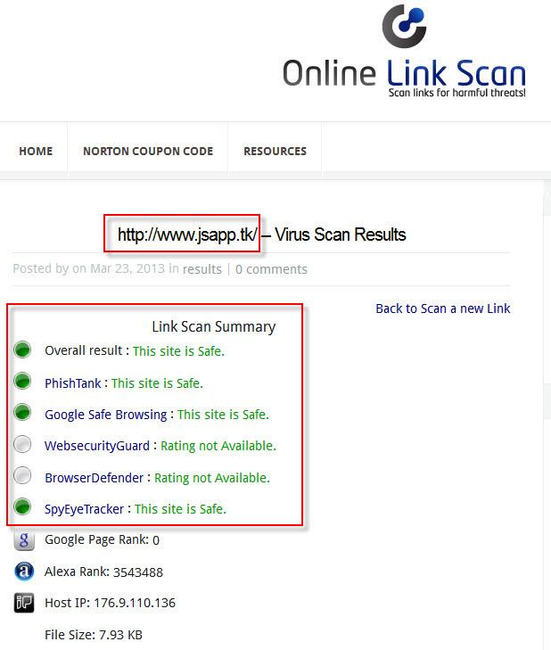 Online Link Scan 無毒畫面