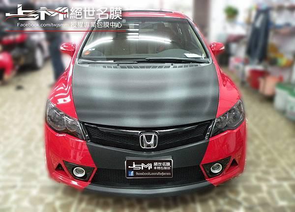 1040809-Honda CIVIC 八代 紅 引擎蓋卡夢+前後淺黑燈膜 (5).JPG