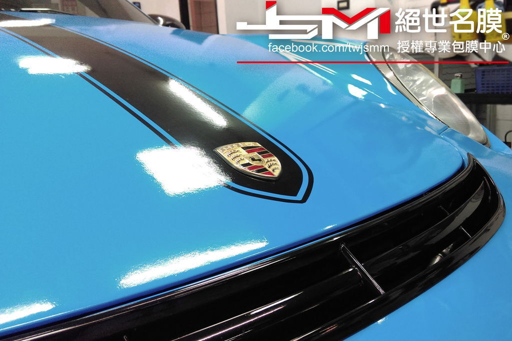 Porsche 997全車改色包膜 烤漆水藍 (2).jpg