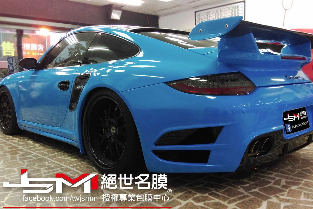 Porsche 997全車改色包膜 烤漆水藍 (5).jpg