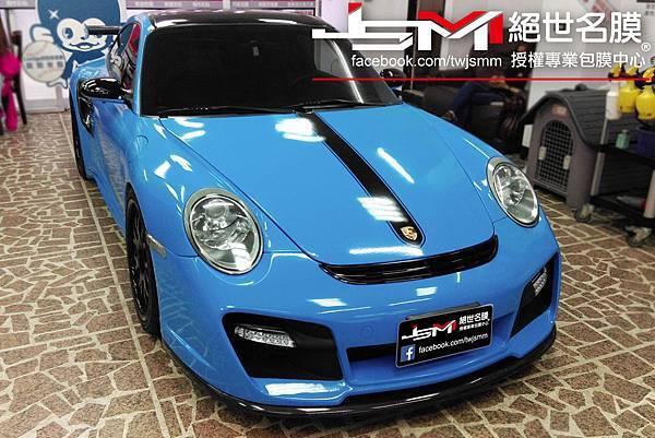 Porsche 997全車改色包膜 烤漆水藍 (1).jpg
