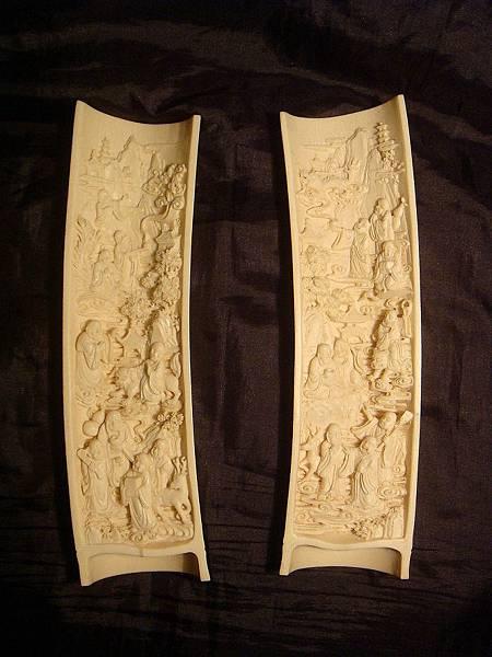 象牙雕十八羅漢臂擱(一對)