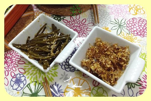高湯副產品:涼拌昆布、蜜汁柴魚