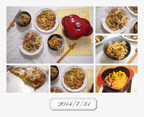 2014/7/31晚餐: 香菇紅蘿蔔南瓜炊飯+苦瓜炒鴕鳥肉+酪梨煎蛋