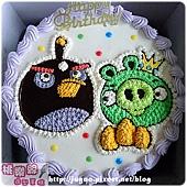 Angry Birds_憤怒鳥之黑色炸蛋鳥vs.綠豬卡通造型蛋糕_8吋:1030元/10吋:1330元/12吋:1830元_NO.004