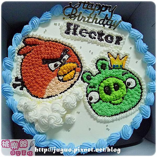 編號105_Angry Birds_憤怒鳥vs.綠色小豬卡通造型蛋糕_8吋:1290元/10吋:1590元/12吋:2090元