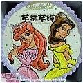 編號K110_小美人魚vs.貝兒公主手繪卡通造型蛋糕_10吋 1590元/12吋 2090元