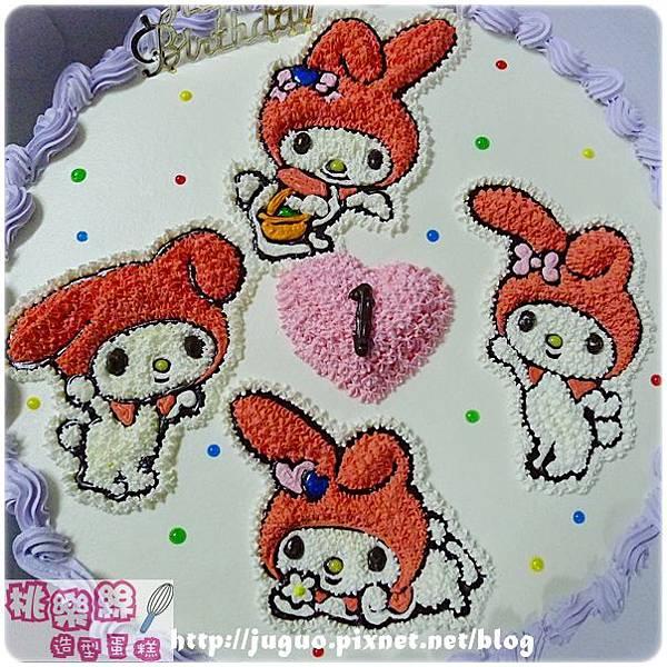 編號K302_戴帽兔手繪卡通造型蛋糕_12吋 2340元