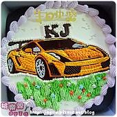 客製_藍寶堅尼手繪造型蛋糕_8吋