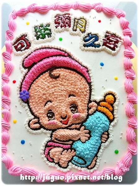 編號002_彌月寶寶(女孩)手繪卡通造型蛋糕_8吋:1140元/10吋:1440元/12吋:1940元(僅提供圓型蛋糕製作)
