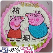 編號:104_粉紅豬小妹+豬拔拔手繪卡通造型蛋糕_8吋 1240元/10吋 1540元/12吋 2040元