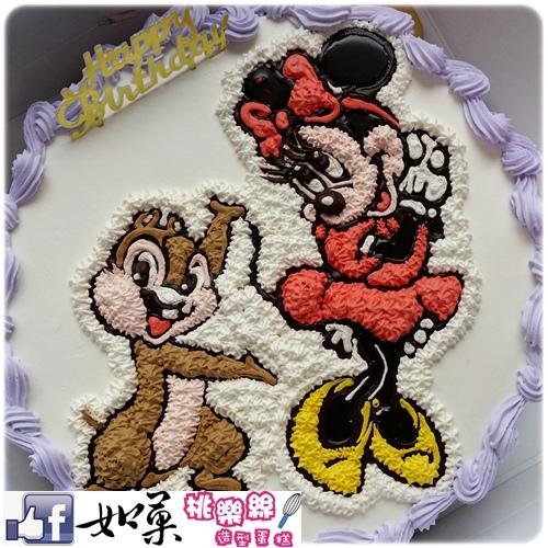 編號K107_奇奇vs.Minnie米妮手繪卡通造型蛋糕_10吋:1590元/12吋:2090元