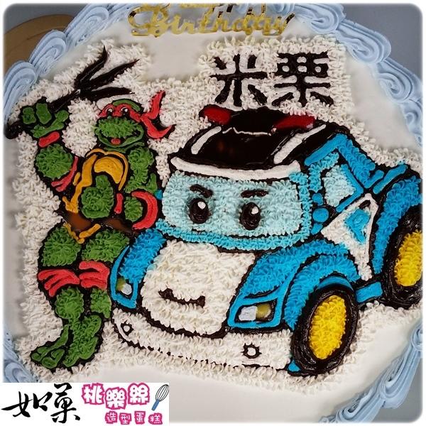 編號:K105_忍者龜+波力手繪卡通造型蛋糕_10吋 1540元/12吋 2040元