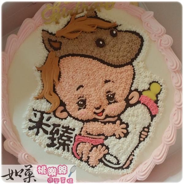 編號011_生肖蛋糕_馬寶寶(女孩)手繪卡通造型蛋糕_8吋:1140元/10吋:1440元/12吋:1940元