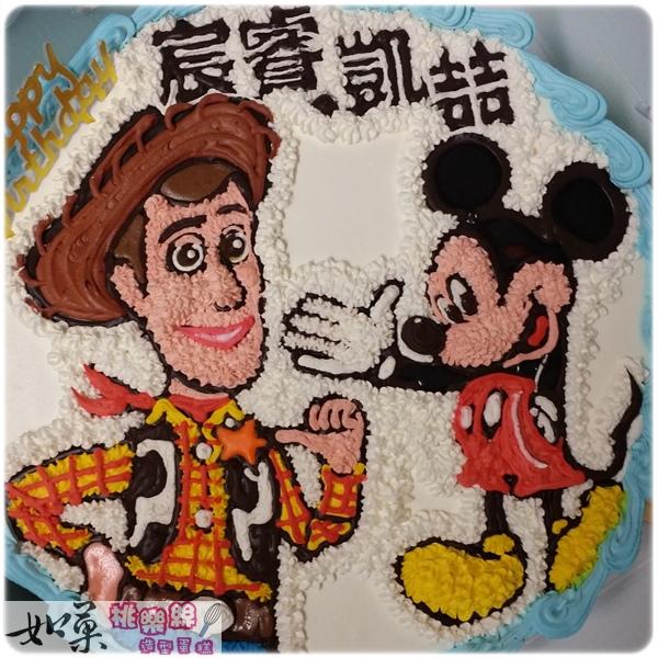 編號:K107_胡迪vs.米奇卡通造型蛋糕_10吋:1590元/12吋:2090元