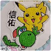 編號:K104_寶可夢-皮卡丘vs.曜西手繪卡通蛋糕_10吋:1590元/12吋:2090元