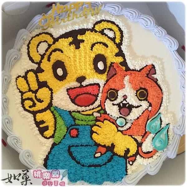 編號k126_巧虎+吉胖貓手繪卡通造型蛋糕_10吋:1590元/12吋:2090元