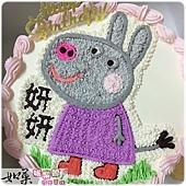 編號:012_粉紅豬小妹-黛芬驢手繪卡通造型蛋糕_8吋 1090元/10吋 1390元/12吋 1890元