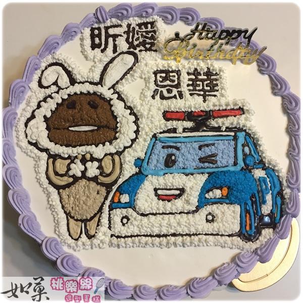 編號:K121_白兔菇菇vs.波力手繪卡通造型蛋糕_10吋 1590元/12吋 2090元