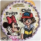 編號:K129_寶可夢-小智與米妮手繪卡通蛋糕_10吋:1540元/12吋:2040元
