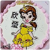 編號033_美女與野獸_貝兒公主手繪卡通造型蛋糕_8吋:1090元/10吋:1390元/12吋:1890元