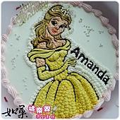編號K031_美女與野獸_貝兒公主手繪卡通造型蛋糕_10吋:1390元/12吋:1890元