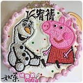 編號:k115_粉紅豬小妹:佩佩豬+雪寶手繪卡通造型蛋糕_10吋 1590元/12吋 2090元