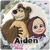 編號:K104_瑪莎與熊手繪卡通蛋糕_10吋 1540元/12吋 2040元