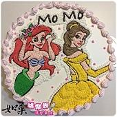 編號K158_小美人魚vs.貝兒公主手繪卡通造型蛋糕_10吋 1590元%2F12吋 2090元