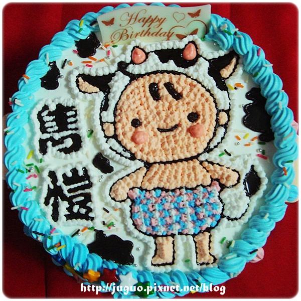 客製-乳牛格子褲寶寶卡通造型蛋糕_8吋