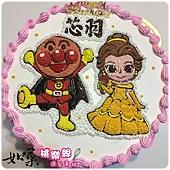 編號K159_麵包超人vs.貝兒公主手繪卡通造型蛋糕_10吋 1590元%2F12吋 2090元