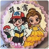 編號K161_貝兒公主vs.小智手繪卡通造型蛋糕_10吋 1590元%2F12吋 2090元