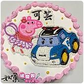 編號:K117_佩佩豬vs.波力手繪卡通造型蛋糕_10吋 1590元/12吋 2090元