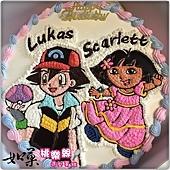 編號:K239_寶可夢-小智精靈球與DORA手繪卡通蛋糕_10吋:1740元/12吋:2240元