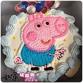 編號:S017_粉紅豬小妹-喬治弟弟手繪卡通造型蛋糕_6吋 930元/8吋:1140元/10吋:1440元/12吋:1940元