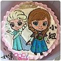 編號K320_冰雪奇緣愛莎+安娜卡通造型蛋糕_10吋:1890元/12吋:2390元