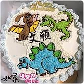 編號:K204_恐龍手繪卡通蛋糕_10吋:1740元/12吋:2240元