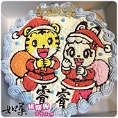 編號132_聖誕巧虎+聖誕琪琪手繪卡通造型蛋糕_8吋:1290元/10吋:1590元/12吋:2090元