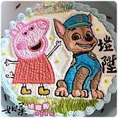 編號:K121_粉紅豬小妹:佩佩豬+汪汪隊阿奇手繪卡通造型蛋糕_10吋 1590元/12吋 2090元