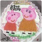 編號:123_粉紅豬小妹:佩佩豬與媽媽豬手繪卡通造型蛋糕_8吋 1290元/10吋 1590元/12吋 2090元