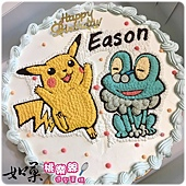 編號:K120_寶可夢-皮卡丘+呱呱泡蛙手繪卡通蛋糕_10吋:1590元/12吋:2090元