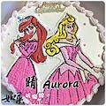 編號K120_小美人魚vs.睡美人人手繪卡通造型蛋糕_10吋 1590元/12吋 2090元