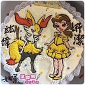 編號K152_長尾火狐與貝兒公主手繪卡通造型蛋糕_10吋 1590元%2F12吋 2090元