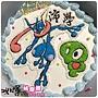編號:k152_寶可夢-神奇寶貝:甲賀忍蛙+小軟手繪卡通蛋糕_10吋:1590元/12吋:2090元